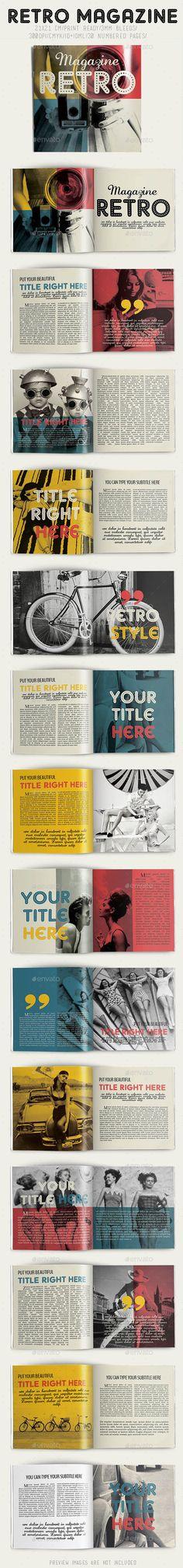 Retro Magazine — InDesign INDD #retro #letter • Available here → https://graphicriver.net/item/retro-magazine/8815658?ref=pxcr