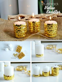 Thumbtack Votive Candles- 17 Easy Last-Minute DIY Christmas Decorations Diy New Years Party Decorations, Easy Christmas Decorations, Noel Christmas, Simple Christmas, Christmas Crafts, Christmas Ideas, Ideias Diy, Votive Candles, White Candles