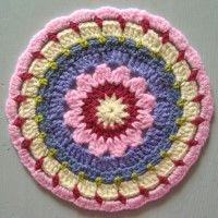 Crochet Mandala Wheel made by Christine, Leeds, UK, for yarndale.co.uk