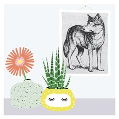#illustration #graphic #plants #indoorgarden #planter #drawing #wolf #print #flower #art #pastels