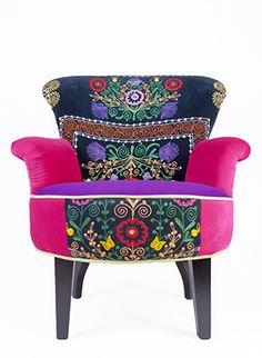 Embroidered armchair with Suzani pink and violet velvet fabrics made by annasuzanistudio 785 EUR  haftowany fotel_suzani  www.annasuzanistudio.pl