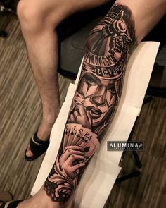 Dope Tattoos, Full Leg Tattoos, Gangsta Tattoos, Leg Tattoos Women, Forarm Tattoos, Tattoos Arm Mann, Bild Tattoos, Badass Tattoos, Arm Tattoos For Guys