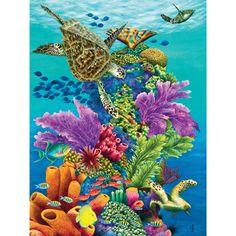 "Carolyn Steele painting tropical art print, diverse Caribbean reef scene, schools of fish, towering coral, sea turtles: ""Sea Summit"" Art Tropical, Sea Life Art, Underwater Art, Ocean Creatures, Ocean Art, Art Plastique, Marine Life, Under The Sea, Illustration"