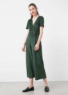 Belt long jumpsuit in dark green velvet | MANGO