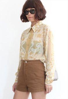 Vintage Paisley Pattern L/S Chiffon Shirt
