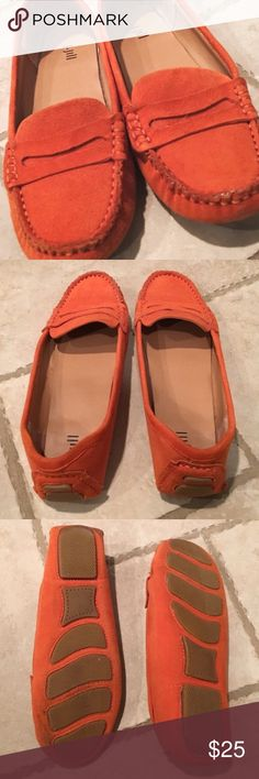 J. JILL leather driving moccasins Fun bright orange moccasins by J. Jill. Adorable and comfortable. They're sadly too small for me. Very good condition. Size 8.5 but fit size 8. Suede feeling. J. Jill Shoes Moccasins