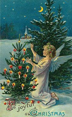 A Joyful Christmas ~ Vintage card. A hold-to-light Christmas postcard.
