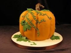 Birthday Cake, pumpkin, vines, orange, Cinderella, Fall, fondant, 3-d, Carved cake