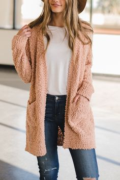 THE CHUNKY OPEN KNITTED CARDIGAN IN BLUSH