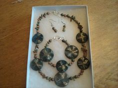 Chunky Unakite Necklace, Bracelet & Earrings Set $30.00