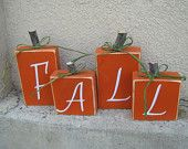 Set of Pumpkin themed, wood fall blocks.  Great for Halloween, Thanksgiving or all season fall decorating. Etsy.