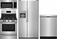 Frigidaire 4 Piece Gas Kitchen Appliance Package with 26 cu. Side by Side Refrigerator - Stainless Steel Stainless Steel Refrigerator, Kitchen Refrigerator, Kitchen Stove, Buy Kitchen, Stainless Steel Countertops, Stainless Appliances, Kitchen Appliances, Kitchen Appliance Storage, Kitchen Appliance Packages