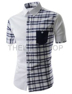 (AL636-WHITE) Mens Slim Fit Two Tone Checker Pattern Chest Pocket Short Sleeve Shirts
