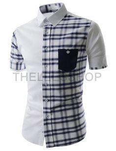 (AL636-WHITE) Mens Slim Fit Two Tone Checker Pattern Chest Pocket Short Sleeve Shirts