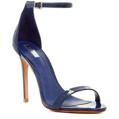 Schutz Cadey-Lee Sandal (670 HRK) ❤ liked on Polyvore featuring shoes, sandals, navy, navy leather sandals, strappy sandals, navy blue leather sandals, high heel sandals and navy strappy sandals