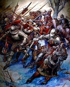 Swiss pikeblock and Burgundian Cavalry c.1460