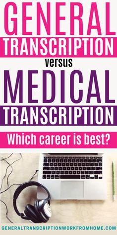 There are many transcription jobs other than medical transcription. In fact, general transcription jobs provide better pay and more work than medical transcription jobs today. So, what's the difference between general transcription and medical transcription and which transcription career is best? Read my blog post to find out. Typing Jobs From Home, Online Typing Jobs, Online Side Jobs, Best Online Jobs, Transcription Training, Transcription Jobs From Home, Transcription Jobs For Beginners, Medical Transcriptionist, How To Find Out