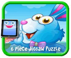 Flower Bunny - 6 Piece Online jigsaw puzzle for kids