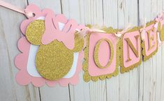 Items similar to Pink and Gold Minnie Banner, Minnie Mouse ONE Banner, Minnie First Birthday Decorations, Pink and Gold Minnie Decorations, Photo Prop on Etsy Minnie Mouse Party Decorations, First Birthday Party Decorations, First Birthday Themes, Mouse Parties, First Birthdays, Birthday Parties, Birthday Ideas, Minnie Mouse First Birthday, Minnie Mouse Pink