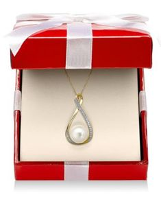 Cultured Freshwater Pearl (9mm) and Diamond Accent Pendant Necklace in 14k Gold | macys.com