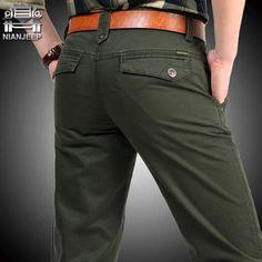 NIANJEEP 브랜드 큰 크기 30 40 42 면 바지 캐주얼 남성 의류 군사 육군 녹색 남성 조깅 A3068