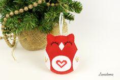 Gufo punto croce cuore addobbo albero di Natale, totalmente fatto a mano…