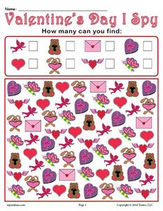 FREE Printable Valentine's Day I Spy Counting Worksheet! Counting worksheets like this are fun for preschoolers and kindergartners alike. Get this free Valentine's Day counting activity here --> https://www.mpmschoolsupplies.com/ideas/7915/valentines-day-i-spy-free-printable-valentines-day-counting-worksheet/