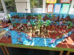 Kids cut out canoes and tipis to make a Lakota village.