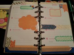 My week 15 (April 2014) Planner decorations. Supplies: silver/gold washi tape, orange washi tape, blue painters tape, small flowers (blue & orange), orange thought bubble sticky note & banners/flags stickers.