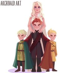 """""""Mother of Dragons"""" (#Rhaegal, #Drogon & #Viserion) human children of #DaenerysTargaryen. #archibaldart #gameofthrones #got #khaleesi. Visit my tumblr and fb page for fuller view of some tiny lazy detailing i did, link is in my bio. P.S. Im not good in drawing children, in fact this is my 2nd time.ahaha do they look cute and child-ish enough?"""