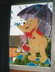 Raamschildering Winnie de Pooh...