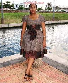 kitenge designs shweshwe attire for African women - fashion South African Dresses, African Wear Dresses, African Attire, Seshweshwe Dresses, Xhosa Attire, Elegant Dresses, Traditional Dresses Designs, African Traditional Dresses, Traditional Outfits