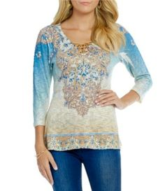 1ec3142aa0b Reba Desert Sky Lace-Up Printed Top  Dillards Dillards