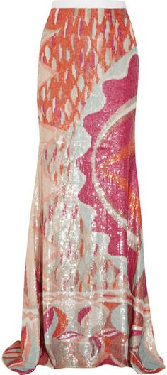 Sequined Silk Maxi Skirt - Lyst