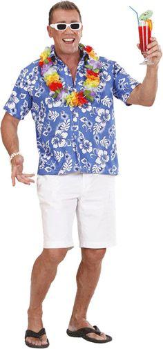 Luau shirt blauw met witte bloemen. Hawaii of tropisch feestje? Bij Fun en Feest vind je de leukste Hawaii feestartikelen, kostuums en accessoires. Toppers Crazy Summer kleding tip!