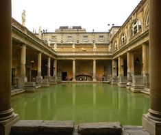 Roman Baths, Bath, UK. The original Roman baths (under street level) date to around the 1st century AD while the building above is Victorian and was built in 1894.