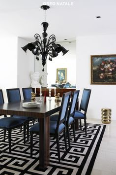 Greg Natale: Chic, eclectic dining room design with Jonathan Adler white & black Greek Key Rug, ...