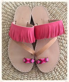 Genuine Leather Sandals with pink suede by BohemianFootprints