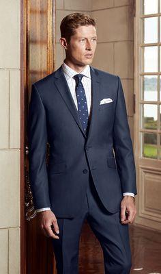 The Bondi Slim Fit suit in Super 120's Pure Australian Merino Wool (blue microdesign).