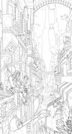 Eternal Law by arvalis on DeviantArt Printable Adult Coloring Pages, Coloring Book Pages, Cityscape Drawing, Perspective Drawing, Art Corner, Figure Drawing Reference, Landscape Drawings, Environment Concept Art, Creative Sketches