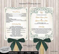 Wedding program fan templateDIY program by TemplatesForWedding, $8.00