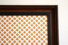 Bulletin board with vintage dark wood frame