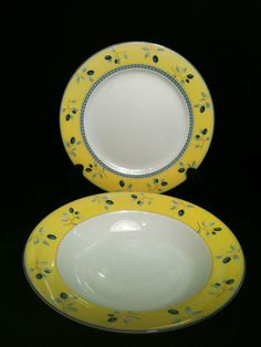 Royal Doulton China Blueberry Yellow Rim Salad Dinner Plates Bowl Mixed Set 6 | Vintage Dinnerware | Pinterest | Vintage dinnerware Royal doulton and ... & Royal Doulton China Blueberry Yellow Rim Salad Dinner Plates Bowl ...