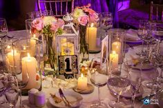 CBC271 Weddings Riviera Maya Xcaret candles and coral white and pink floral centerpieces / centro de mesa con velas y flores coral blancas y rosas