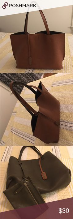 "Street Level reversible tote! Gorgeous bag in great condition. Only used a couple of times. 2 small ink marks as shown in last pic. 16"" long & 12"" tall. Burnt orange brown & dark brown. Street Level Bags"