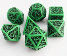 Celtic Dice (Green) | RPG Role Playing Game Dice Set