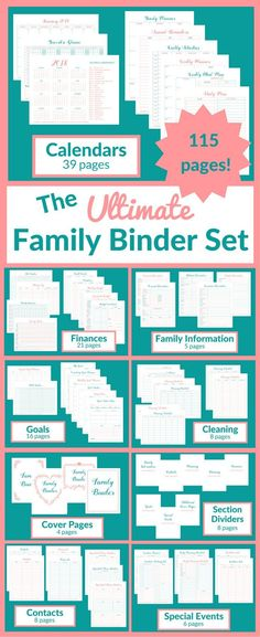 This Ultimate Family Binder Set has printables to help you organize your entire family life. Binder Dividers, Binder Organization, Household Organization, Organizing Paperwork, Organizing Life, Life Binder, Life Planner, Family Information, Printable Activities For Kids