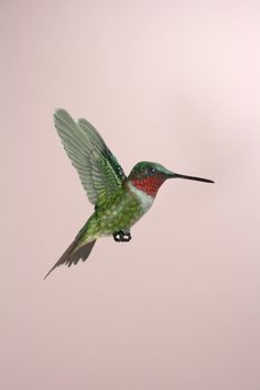 Handmade paper and wood Ruby throated hummingbird sculpture, available here: www.etsy.com/shop/ZackMclaughlin