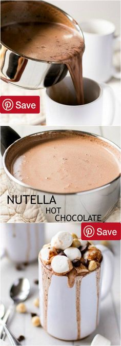 Nutella Hot Chocolate - Ingredients Gluten free Condiments 2 tbsp Nutella 1 Nutella Baking & Spices 1 Chocolate chips 2 tbsp Cocoa powder unsweetened 2 tbsp Sweetener natural Nuts & Seeds 1 Hazelnuts Dairy 4 cups Skim milk low fat Desserts 1 Marshmallows #delicious #diy #Easy #food #love #recipe #recipes #tutorial #yummy @mabarto - Make sure to follow cause we post alot of food recipes and DIY we post Food and drinks gifts animals and pets and sometimes art and of course Diy and crafts films…