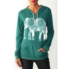 Stylish Hooded Long Sleeve Elephant Print Women's Hoodie (GREEN,L) in Sweatshirts & Hoodies | DressLily.com